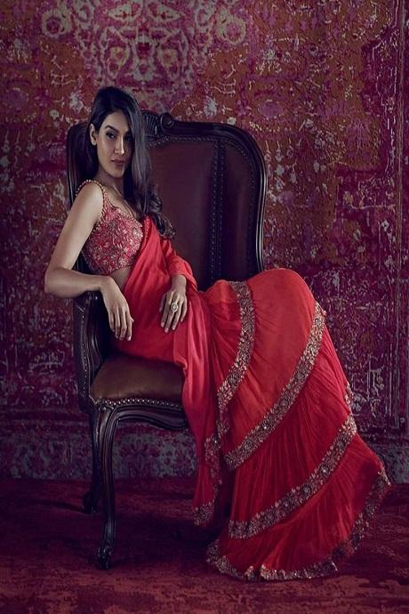 Red Color Attractive One piece Ruffle Saree