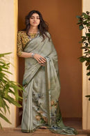 Light Grey color Hand loom Saree