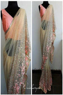 Good Looking Light Orange Color Party Wear Saree RR74