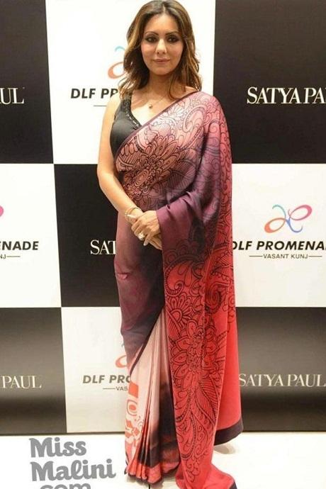 Actress Red And Black Color Saree
