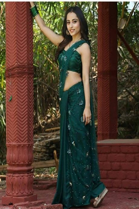 C Green Color Embroidery Butta Work saree