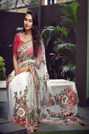 White Color Embroidery Work Beautiful Designer saree