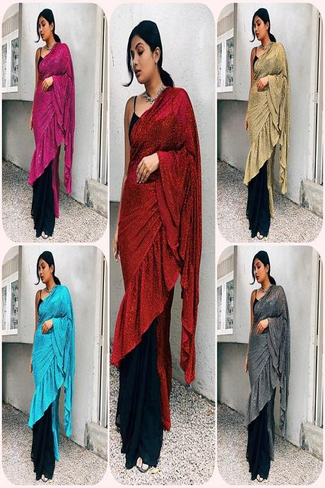 Grey Color Two Tone Effective Ruffle Saree