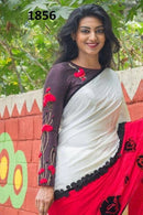 Awesome White N Red Color Party Wear Printed Saree RR60