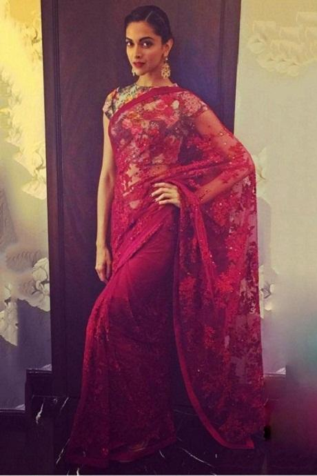 Dipika Padukon Red Color Beautiful saree