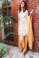 White N Coffee Color Anarkali Patiyala Dress