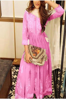 Attractive Pink Color Designer Gown Type Dress