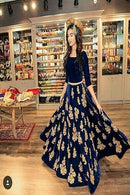 Fashionable Designer Navy Blue Color Velvet  Lehenga Choli