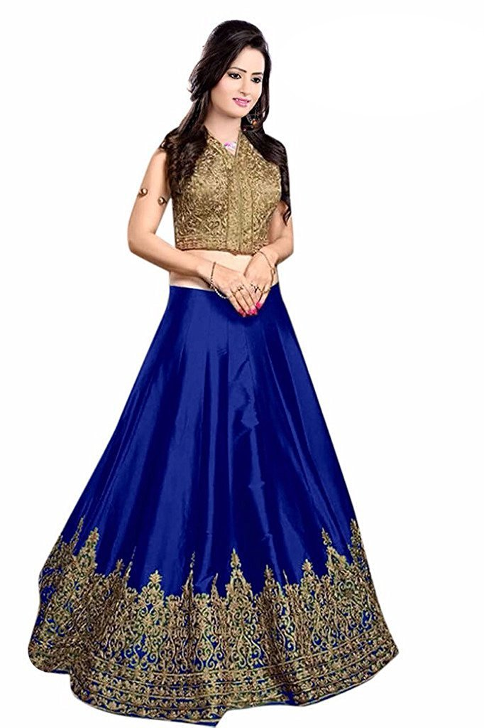 Women's Embrodery Designer Beautiful Mulbarry Silk Lehengha Choli,Blouse and Dupatta Piece (Royal blue)