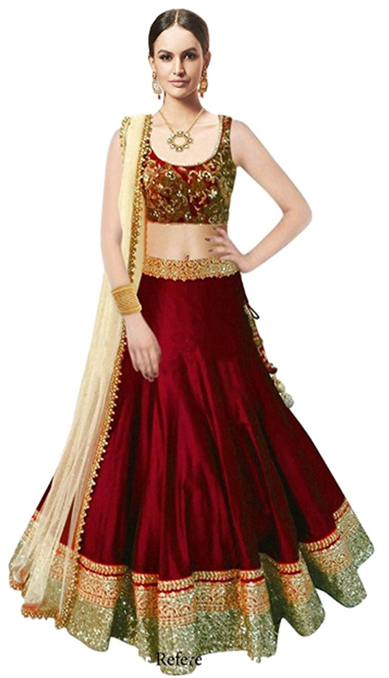 Women's Embrodery Designer Beautiful Mulbarry Silk Lehengha Choli,Blouse and Dupatta Piece (Marun)