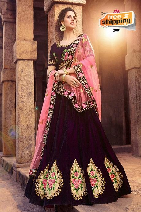 Latest New Fashion Pure Silk Lehengha Choli (Navy Peach)