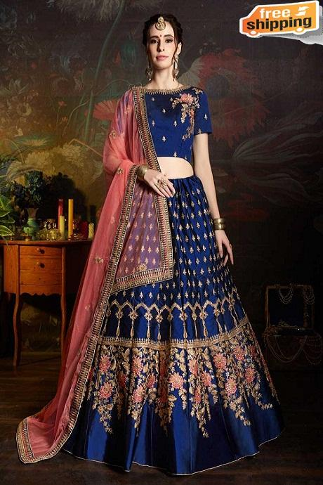 womens Beautiful Fashionable Pure Silk Latest Designer Lehengha choli,Blouse,Dupatta piece ( Light Blue )