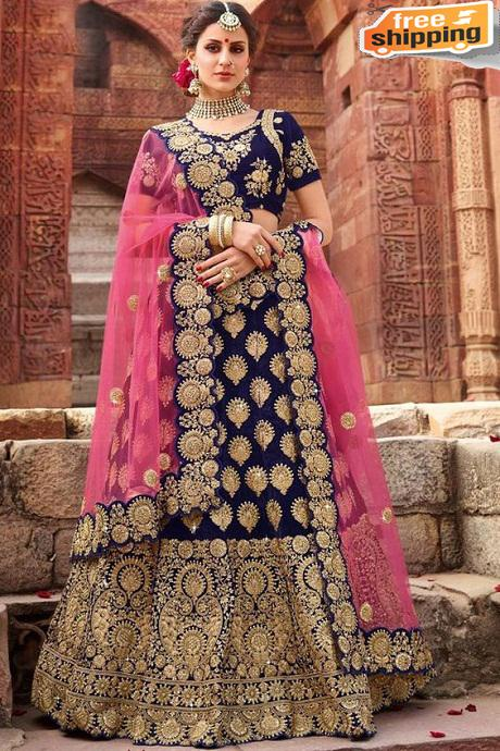 Latest New Fashionble Pure Silk Lehengha Choli(Blue)