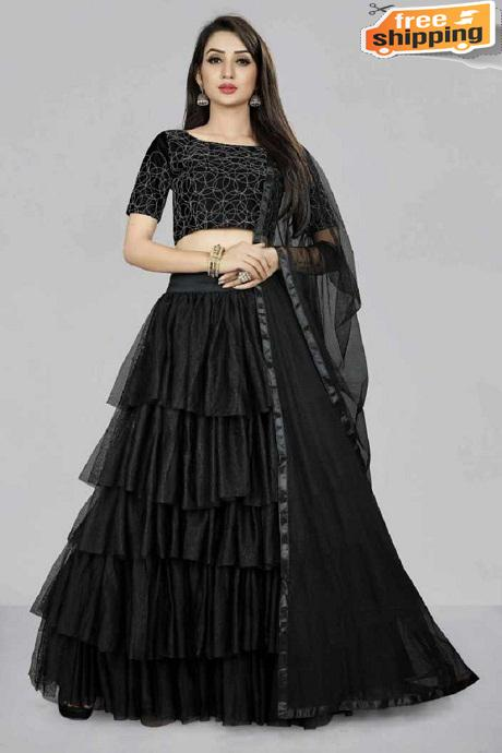 Beautiful Designer latest Ruffel Naylon Softnet Lengha choli Z black)