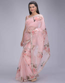 Contemporary Light Pink Color Organza Silk Designer Digital Print Saree