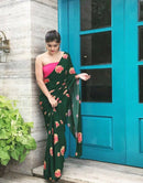 Green Colored Fashionble Designer One piece Digital Printed Saree