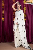 Latest Cotton Silk White Colored Black Digital Printed  Designer Saree