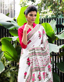 Delicate White Color Linen Designer Digital Print Saree