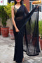 Party Wear Pure Georgette Silk Black Sarees,Sari