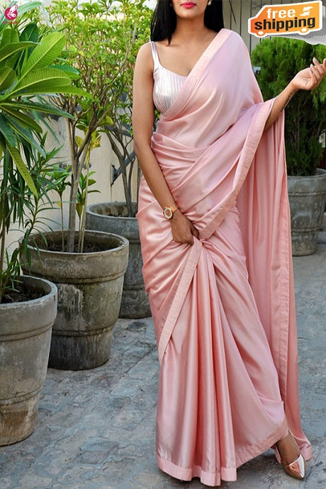 Latest New Designer One piece Satin Soft Silk Saree