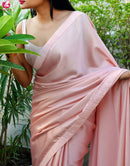 Light Cream colored New Fashionble Designer One piece Silk  Saree
