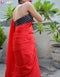 Delicate Red Color Satin Soft Silk Designer Plan Saree
