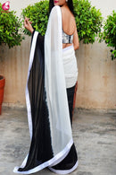 White And Black Colored Shining Satin Silk Saree