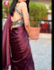 Wine Color One piece Satin Silk Designer Plan Saree
