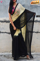 Two Shaded Yellow And Black Regular Wear Silk Saree