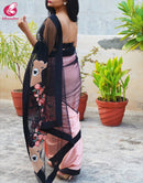 New Designer One piece Digital Printed Satin Soft Silk Black Saree