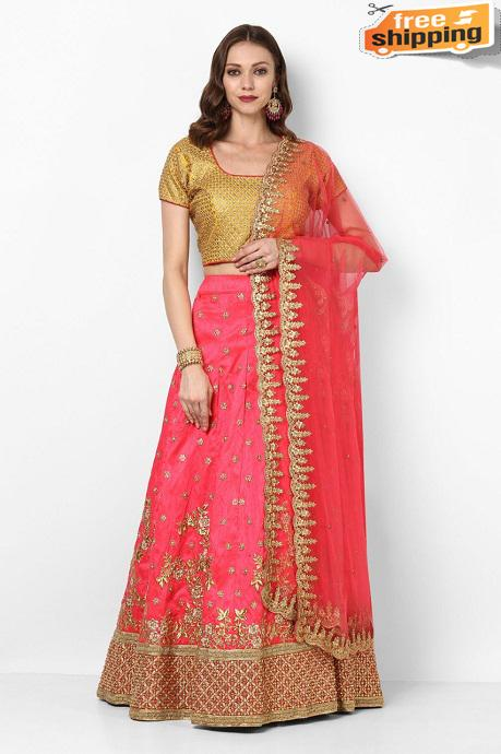 Fashionable Latest Beautiful Designer Lehengha choli( Pink )
