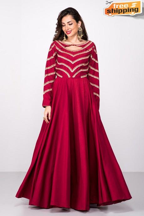 Dark Maroon Embroidery and Hand Work Latest Designer Gown (Red)