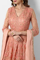 Womens Beautiful Fashionable Pure Naylon Embroidery and Hand Work Latest Designer Gown (Light Orange)