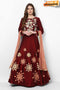 Womens Beautiful Fashionable Pure Silk Embroidery and Hand Work Latest Designer Gown (Maroon)