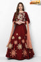 Maroon Color Silk Embroidery and Hand Work Latest Designer Gown (Maroon)