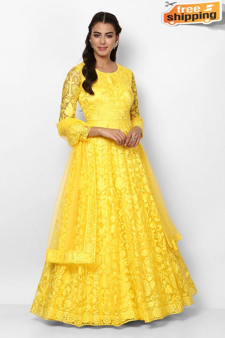 Womens Beautiful Fashionable Pure Gorgette Embroidery and Hand Work Latest Designer Gown (Yellow)