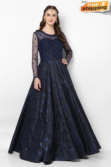 Black Color Hand Work Latest Designer Gown (Black)