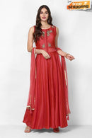 Red Color Embroidery and Hand Work Latest Designer Gown (Red)