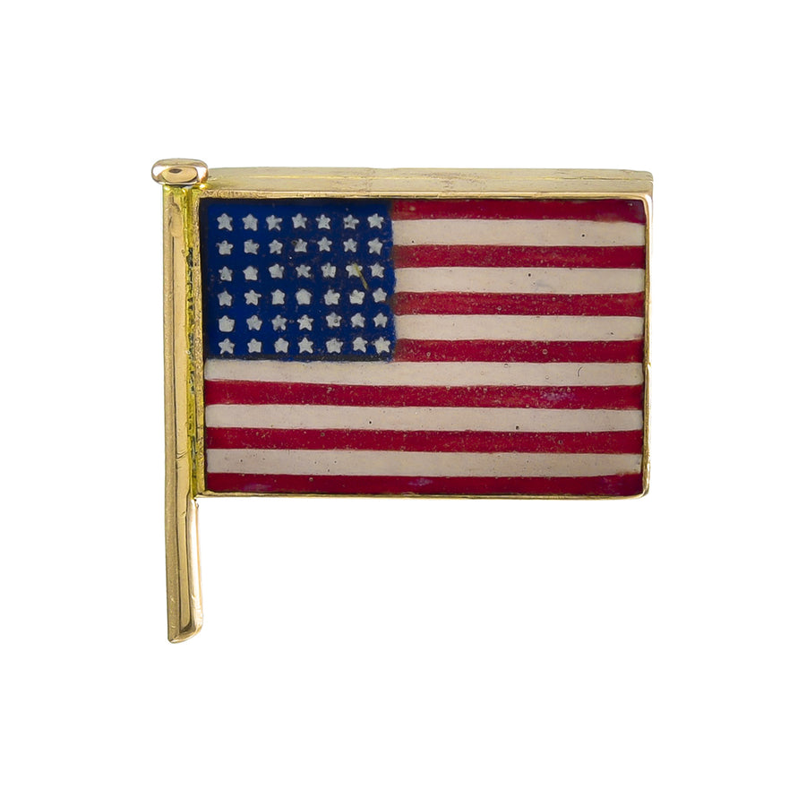 Antique Gold and Enamel American Flag Locket Brooch