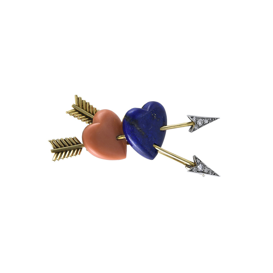 Twin Heart and Arrows Brooch