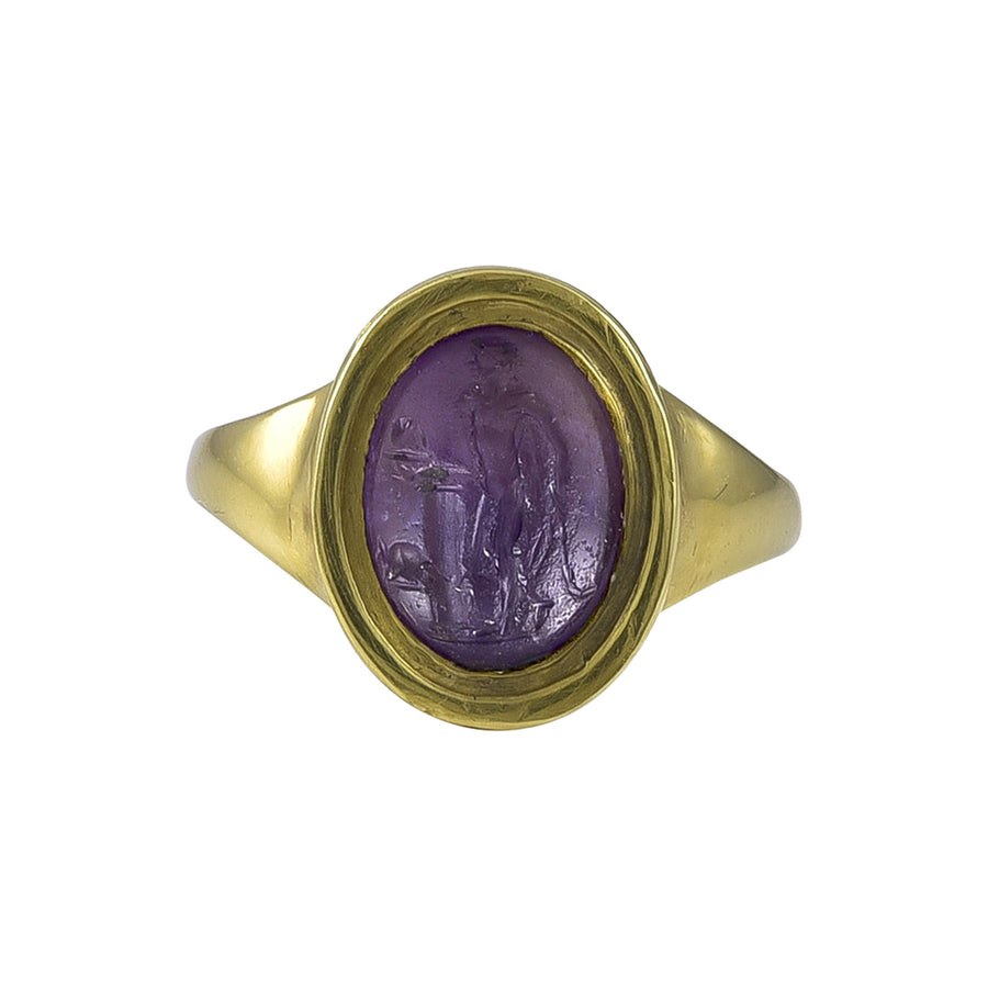 Small Ancient Roman Amethyst Intaglio of the God Mercury in a Later Gold Ring