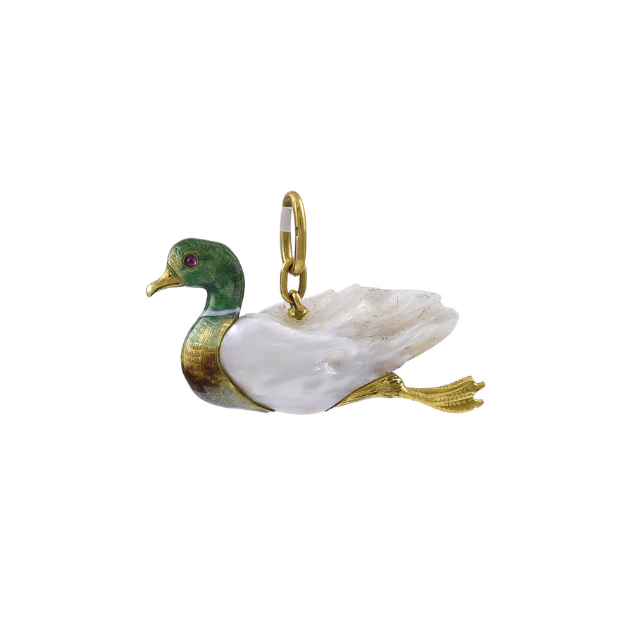 An Antique Pearl, Gold and Enamel Duck Pendant