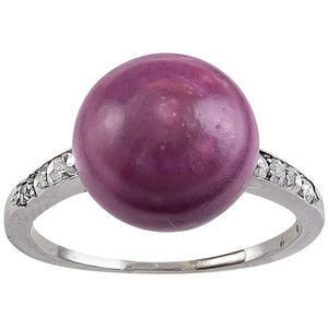 Rare Natural Mauve Colored Pearl Diamond Ring