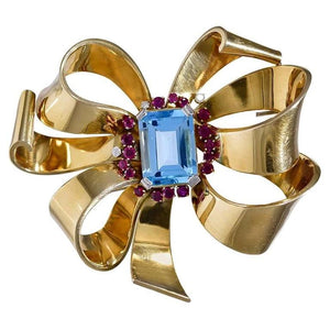 Ruby Diamond Topaz 18 Karat Gold Ribbon Brooch, circa 1950