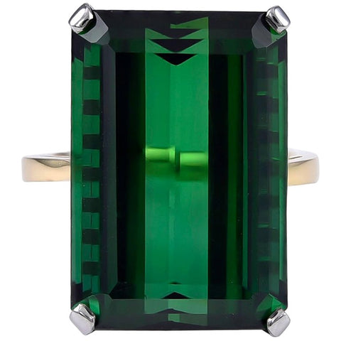 Single Stone Green Tourmaline Ring
