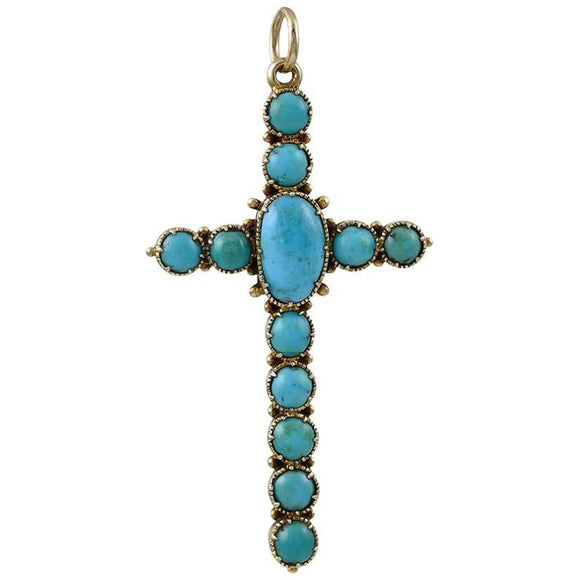 Victorian Turquoise and Gold Pendant Cross