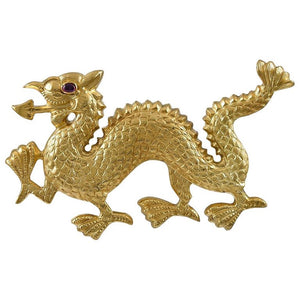 Antique Gold Dragon Brooch