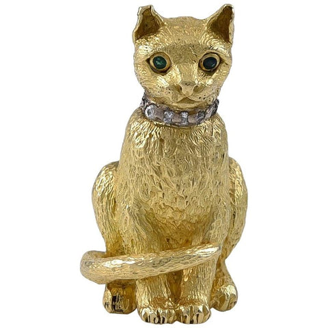 Tiffany & Co. Emerald Eyed Gold Cat Brooch