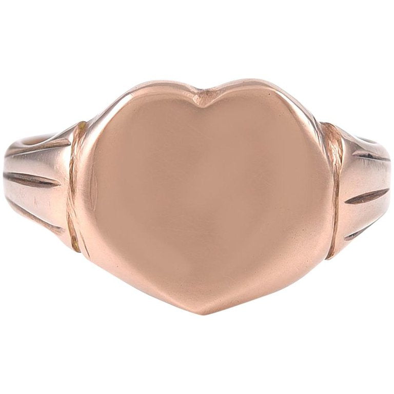 Antique English 9 Karat Gold Heart Shaped Ring