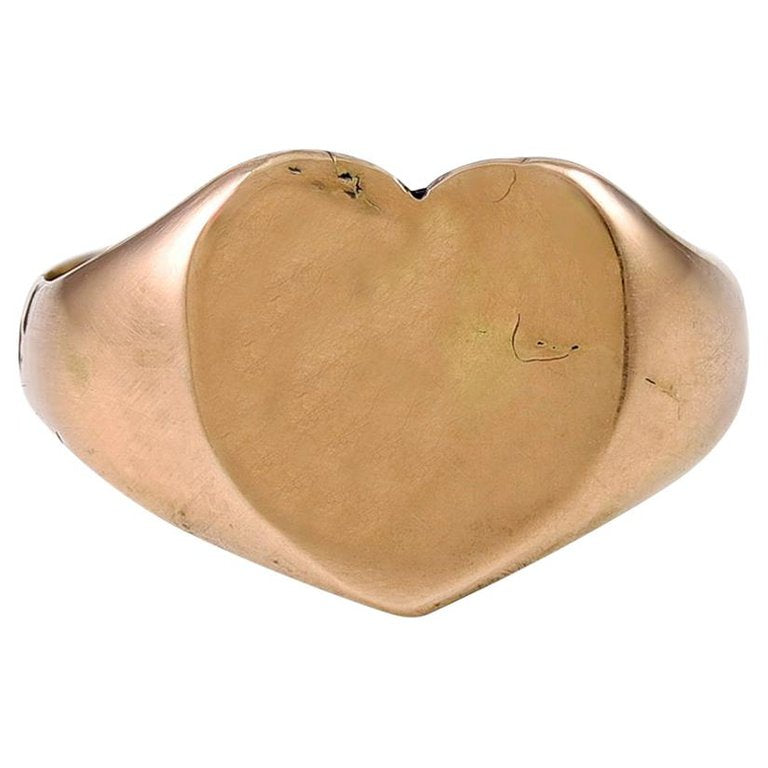 English 9K Gold Heart Shaped Ring